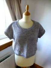 Miss Captain Cropped silver grey jumper T1 - UK 10-12 loose fit short sleeve