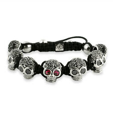 Steel Black Stone CZ Iced Out Skull Macrame Mens Bead Bracelet