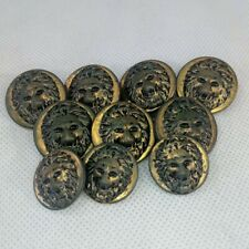 Vintage Picture Buttons Stamped With Lion Head Lot of 10 Brass Button