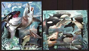 BURUNDI 2012 ORQUES ET REQUINS WHALES SHARKS POISSONS SEA MARINA FISH IMPERF MNH