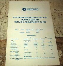 1970s CHRYSLER VALIANT GALANT GA GB Australian Service Adjustment Guide