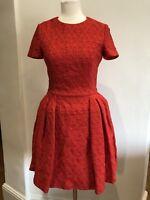 Alexander Mcqueen Red Silk Flared Dress