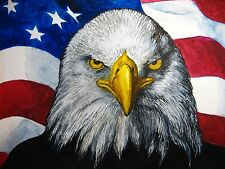 Watercolor Painting Bald Eagle Head Bird American Flag Feathers Animals 5x7 Art