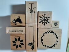 STAMPIN UP RUBBER STAMPS BERRY CHRISTMAS WREATH SNOWFLAKE BIRD POINSETTIA