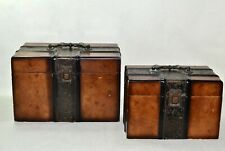 Pair of large Antique wooden Brass Box Storage Collection Treasure Chest Case