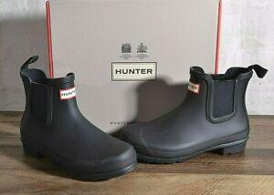Hunter Women's Black Rubber Rain Boot Original Chelsea Ankle 8 MED WFS2078RMA