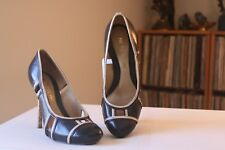 L.A.M.B. Black Leather Nude Trim 4 1/2 Inch Heel Pumps Size 7.5 M Made In Brazil
