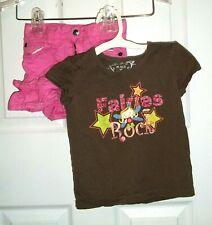 Girls size 3T Children's Place short sleeve shirt pink skirt attached shorts lot