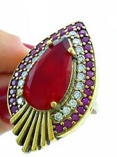 STERLING 925 SILVER SIZE 8 RUBY RING TURKISH HANDMADE JEWELRY R1475