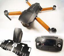 DJI Mavic Carbon Fiber Full Graphic Wrap kit with Orange Arms - Decal Skin Pro