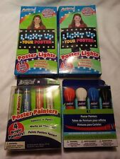 ARTSKILLS LOT 2 POSTER LIGHTS 20 LED & 2 PACKS OF 4 POSTER PAINTERS FREE SHIP