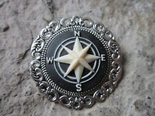 COMPASS CAMEO BROOCH / PIN - NAUTICAL - VACATION, CRUISE, NAVAL, NAVY, WIFE