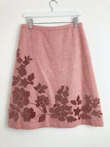 Boden NWOT Pink Tweed Wool Blend Applique Knee Length Skirt Size 14