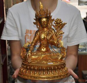 Tibetan Buddhism temple Bronze Gilt White Tara  Kwan-Yin GuanYin Buddha statue