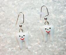 WHITE ENAMEL TOOTH  Dental Silver Plated Dangle Earrings  USA Seller