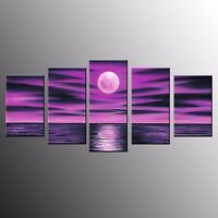 FRAMED Canvas Prints Oil Painting Wall Decor Purple Moon Canvas Wall Art-5pcs