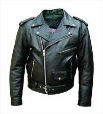 Mens Black Leather Biker Jacket Front Belt Longsleeve Motorcycle Cruiser Scooter 40