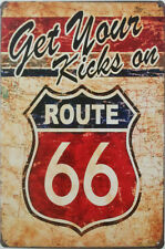 """""""Get your kicks on Route 66"""" American vintage retro style metal plaque tin sign"""