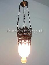 BR130M Art Decorative White Frosted Glass Lamp With Brass Ornament Belt