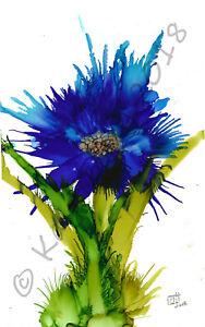 "Original Custom and Print Alcohol Ink ""Blue Spray Flower"" Floral Flower Painting"