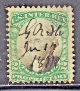 US PROPRIETARY (Scott RB2a) 1871-74 2c green & black on Violet Paper USED