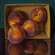 Original oil painting still life contemporary realism peach 8x8 Y Wang Fine Art