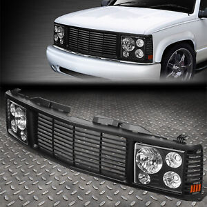 FOR 94-00 CHEVY GMC C/K 1500-3500 HEADLIGHTS+ROVER GRILLE CONVERSION KIT BLACK