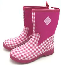 J9309 Youth's Muck Boots Breezy Mid Pull On Boot Pink Gingham 7 M
