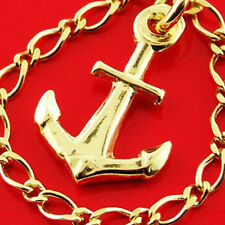 CHARM BRACELET 14 KT YELLOW VERMEIL GOLD TRADITIONAL SOLID LINK ANCHOR DESIGN