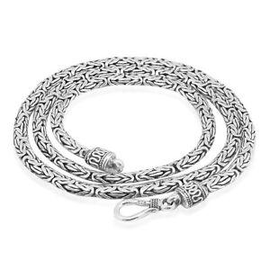 Sterling Silver Oval BYZANTINE 3 mm Chain Necklace Handmade Borobudur Bali Chain