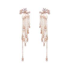 Gold Silver Crystal Bling Rhinestone Long Tassels Drop Hook Dangle Earrings Gift