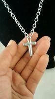 Pretty RLM Robert Lee Morris sterling oval chain links cross pendant necklace