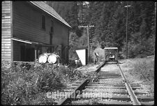 1955 MORRISON OREGON PHOTO - Railroad Speeder Car Stop