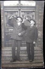 GERMANY~1920's BAD NENNDORF ~ TWO GENTLEMAN DRINKING WINE FROM BOTTLE ! RPPC