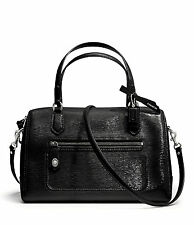 NWT Coach Poppy East/West Textured Patent Leather Satchel 25062 Silver / Black