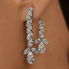 3Ct Pear Marquise Cut Simulant Diamond Chandelier Earrings Silver White Gold Fns