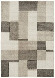 The Rug House Couture Natural Beige Modern Geometric Blocks Squares Design...