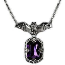Silver Vampire Bat Pendant Necklace w/ Purple Stone Gothic Victorian Alternative