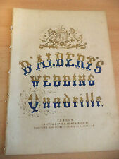 D'alberts mariage quadrille ancienne antique piano song sheet music orig victorian