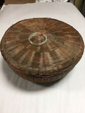 Vintage Chinese Wicker Woven Sewing Basket