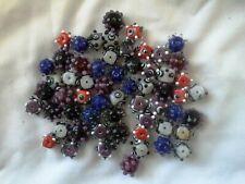 59 Beads Lampwork Handcrafted Bumpy Art Bead Lot, Wholesale Dot Glass Bead Mix