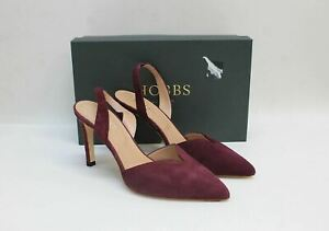 HOBBS Ladies Camilla Dark Berry Red Suede Slingback Court Shoes UK6 EU39 NEW