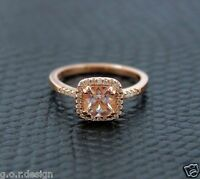 0.83 Carat Cushion Morganite Halo Ring 14k Rose Gold  0.16Ct VS RounDiamonds