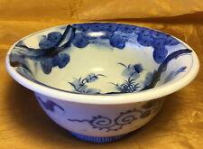 Antique Japanese Imari Blue/White Sometsuke Hachi Bowl Peony & Pine/Flared Rim