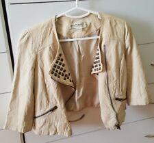 JUST JEANS Cream Beige Cropped Boho Nina Proudman Studded Leather Jacket Size 8
