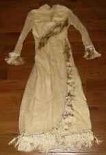 Antique 1920 Wedding Dress Ivory Silk Fringe Tassel Lace Silk