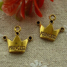 free ship 180 pieces gold plated crown charms 18x17mm #2496