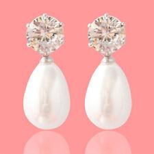 Women OL Style Earrings Stud Transparent Crystal Big Pearl Drop Pendant one