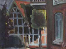 RITTER signiert leicht naives Gemälde 1982: NACHT AN EINER STRASSENECKE IM DORF
