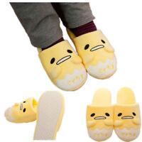 Japanese Gudetama Winter Indoor Soft Yellow Plush Shoes Home Antiskid Slippers